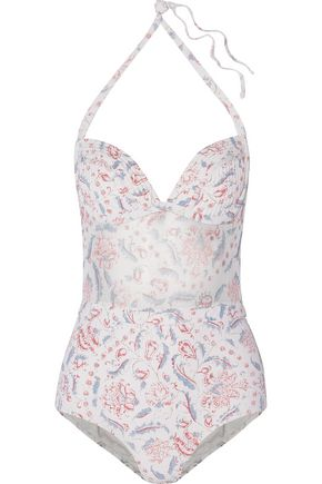 ZIMMERMANN Zephyr mesh-paneled quilted printed swimsuit