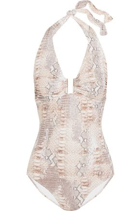 MELISSA ODABASH Tampa snake-print swimsuit