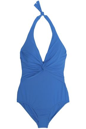 MELISSA ODABASH Twist-front halterneck swimsuit