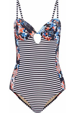 TART Paneled cutout printed swimsuit