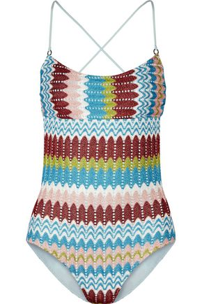 MISSONI Eva metallic crochet-knit swimsuit