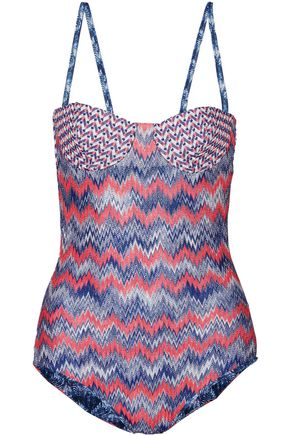 MISSONI Crochet-knit padded underwired swimsuit