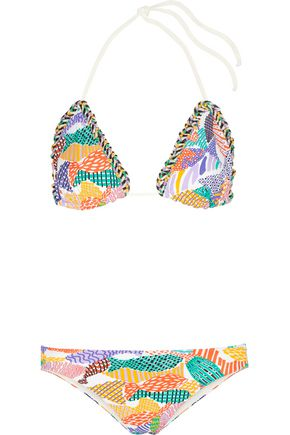 MISSONI Crochet knit-trimmed printed triangle bikini