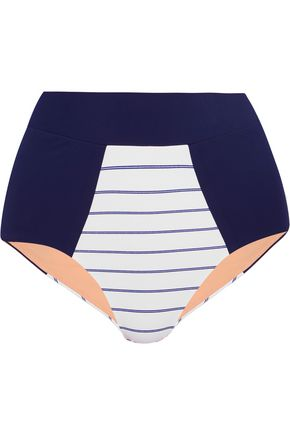 LUCAS HUGH High-rise pinstripe-paneled bikini briefs