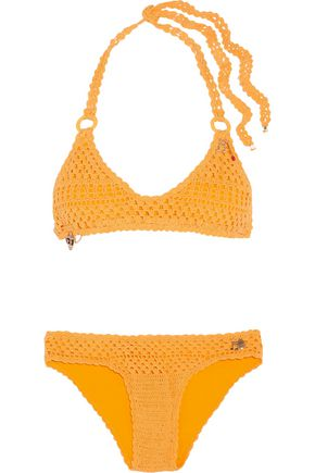 STELLA McCARTNEY Embellished crocheted stretch cotton-blend bikini
