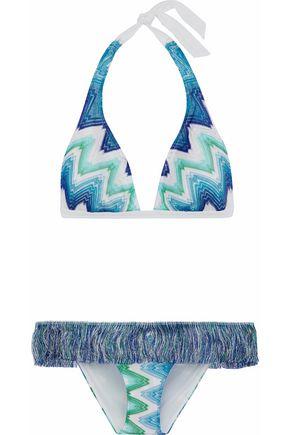 MISSONI Fringed crochet-knit triangle bikini