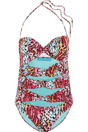 MATTHEW WILLIAMSON Twist-front cutout bandeau swimsuit