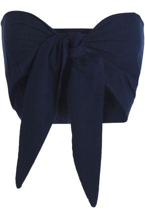 SOLID & STRIPED + STAUD Baia convertible cotton-seersucker top