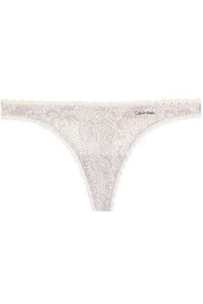 CALVIN KLEIN Lace-trimmed printed jersey thong