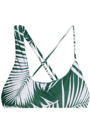 MIKOH Asymmetric printed bikini top