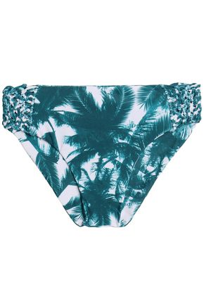 MIKOH Macramé-paneled printed low-rise bikini briefs