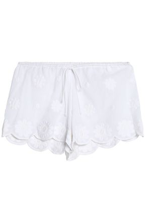 MIGUELINA Scalloped embroidered cotton shorts