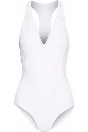 STELLA McCARTNEY Cutout mesh-paneled neoprene swimsuit
