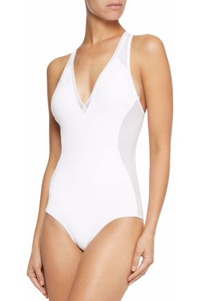 STELLA McCARTNEY Racer-back mesh-paneled cutout swimsuit