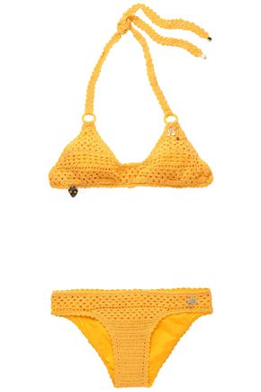 STELLA McCARTNEY Appliquéd crochet-knit bikini