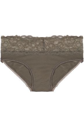 CALVIN KLEIN Lace-trimmed jersey mid-rise briefs