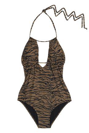 MELISSA ODABASH Casablanca cutout printed halterneck swimsuit