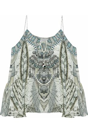 CAMILLA Love Weave cold-shoulder embellished printed silk top
