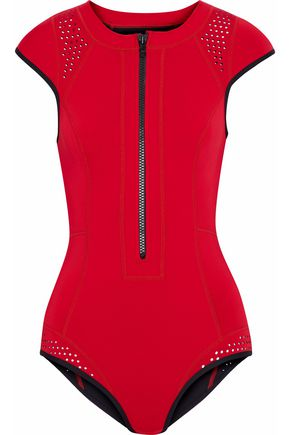DUSKII Two-tone perforated neoprene swimsuit