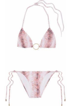 MELISSA ODABASH Miami lizard-print halterneck bikini
