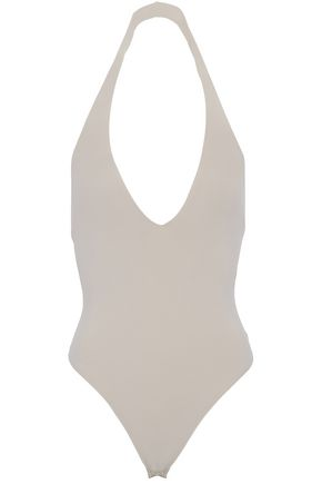 ALIX Open-back stretch-cady halterneck bodysuit