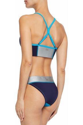 DUSKII Color-block neoprene mid-rise bikini briefs