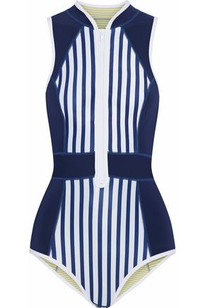 DUSKII Paneled striped neoprene swimsuit