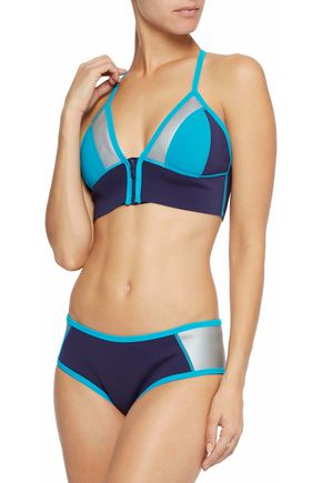 DUSKII Two-tone coated neoprene triangle bikini top