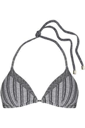 HEIDI KLUM SWIM Printed paneled stretch-knit triangle bikini top
