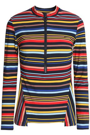 STELLA McCARTNEY Striped stretch-knit swimsuit