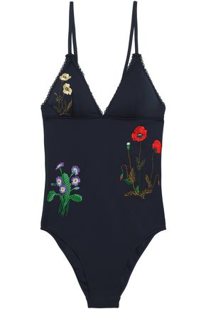 STELLA McCARTNEY Embroidered stretch-knit swimsuit