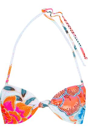 MARA HOFFMAN Twisted printed bandeau bikini top