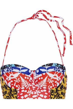 MARA HOFFMAN Printed lace-up bandeau bikini top