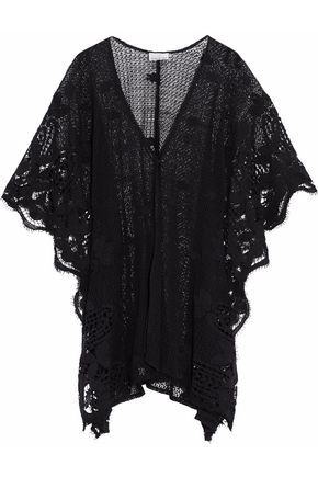 MIGUELINA Guipure lace-paneled crocheted coverup