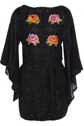 MIGUELINA Tasseled floral-appliquéd guipure lace cotton coverup