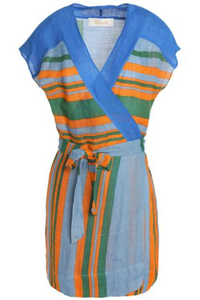 DIANE VON FURSTENBERG Striped linen-blend gauze wrap tunic