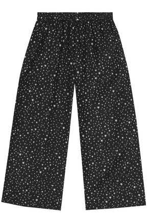 DIANE VON FURSTENBERG Printed cotton and silk-blend wide-leg pants