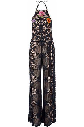 MIGUELINA Belted appliquéd macramé lace halterneck jumpsuit