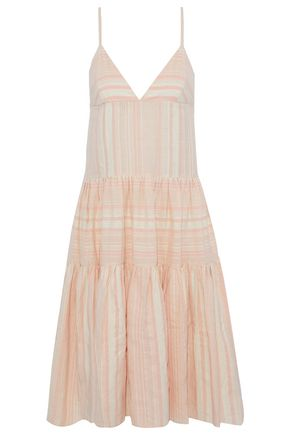 MARA HOFFMAN Striped pleated woven-paneled cotton coverup