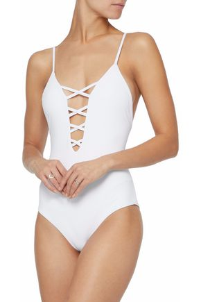 MARA HOFFMAN Lattice-trimmed swimsuit
