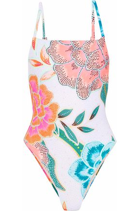 MARA HOFFMAN Open-back floral-print swimsuit