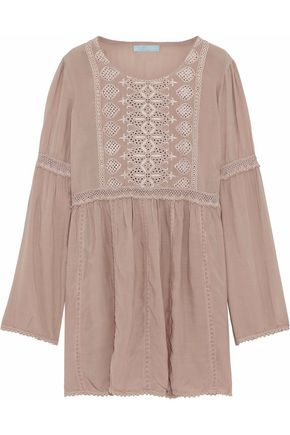 MELISSA ODABASH Crochet-trimmed embroidered voile coverup