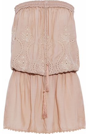 MELISSA ODABASH Strapless gathered embroidered voile coverup