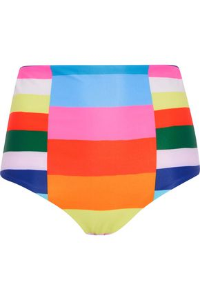 MARA HOFFMAN High-rise color-block bikini briefs