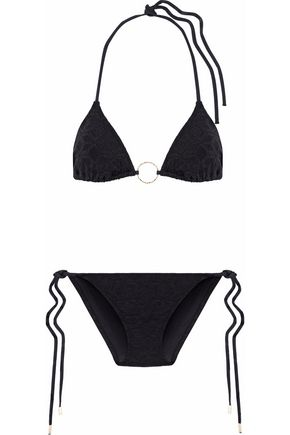 Embellished Printed Triangle Bikini by Melissa Odabash