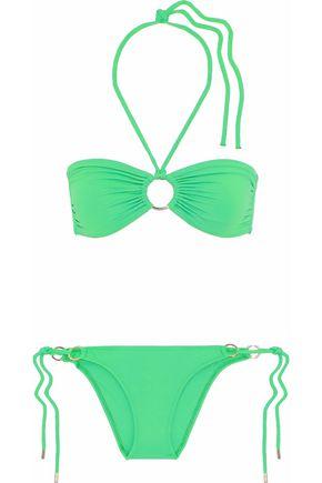 MELISSA ODABASH Ruched embellished halterneck bikini