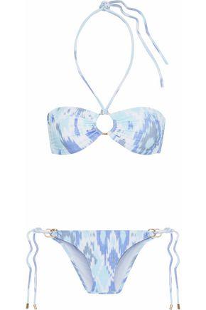 MELISSA ODABASH Embellished printed halterneck bandeau bikini