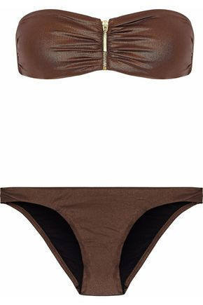 MELISSA ODABASH Zip-detailed ruched bandeau bikini