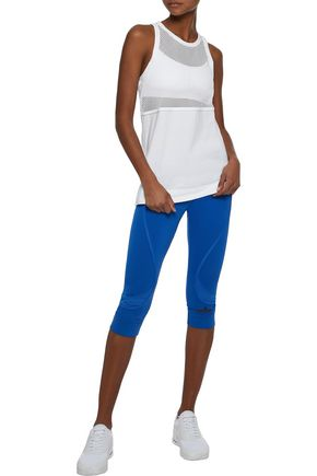 ADIDAS by STELLA McCARTNEY Swim mesh-paneled cotton-jersey tank