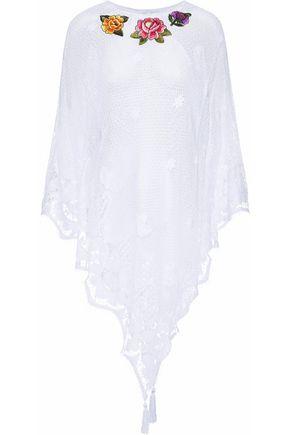 MIGUELINA Floral-appliquéd crochet-knit cotton coverup